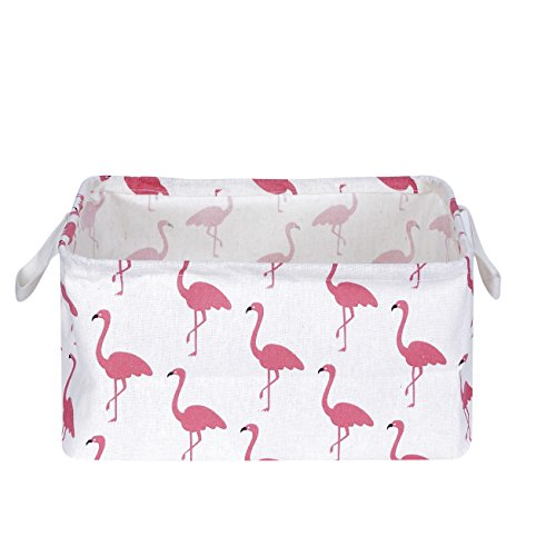 USATDD Flamingo Toy Storage Bins Canvas Collapsible Storage Basket with Handles Toy Organizer for Nursery, Kids Toys, Closet & Laundry, Gift Basket by Mofeng