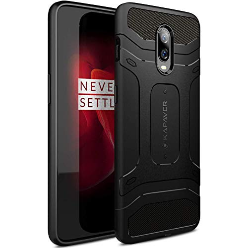 KAPAVER® OnePlus 6T Case Premium Tough Rugged Solid Black Shock Proof Slim Armor Back Cover Case for One Plus 6T
