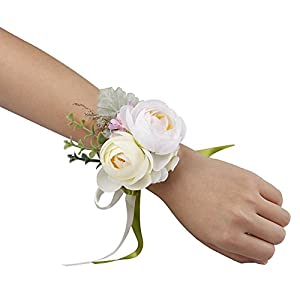 YSUCAU Wrist Corsage and Boutonniere Set, Brooch Bouquet Corsage Classic Artificial Groom Bride Bridesmaid Corsage Flowers with Pin for Wedding Prom Party 2