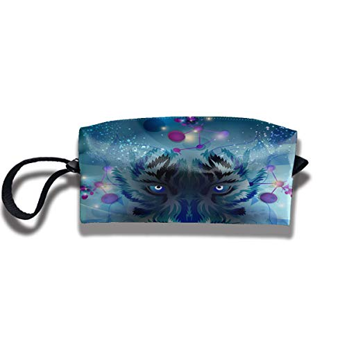 Cosmetic Bags With Zipper Makeup Bag Blue Tiger Face Middle Wallet Hangbag Wristlet -