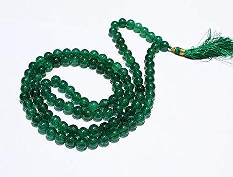 Gemswholesale - Mala de jade verde 109 japa mala amarrada a ...