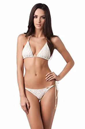 Luli Fama Women's Sweet Seduction Sliding Triangle Bikini Top Ivory Gold L