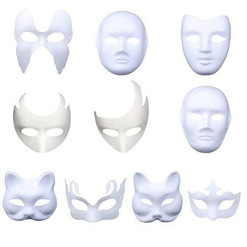 Meimasks DIY White Paper Mask Pulp Blank Hand Painted Mask Personality Creative Free Design Mask 10pcs(Set-3)]()