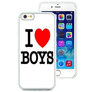 Beautiful Unique Designed Cover Case For iPhone 6 4.7 Inch TPU With I Love Boys White Phone Case