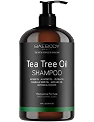 Baebody Tea Tree Oil Shampoo - Helps Fight Dandruff, Dry Hair and Itchy Scalp. For Men and Women. 16 fl oz.