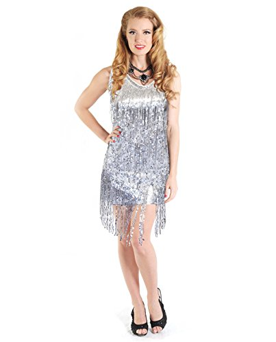 Adult Women's Sparkle Flapper Dress (Medium (8-10), Silver)