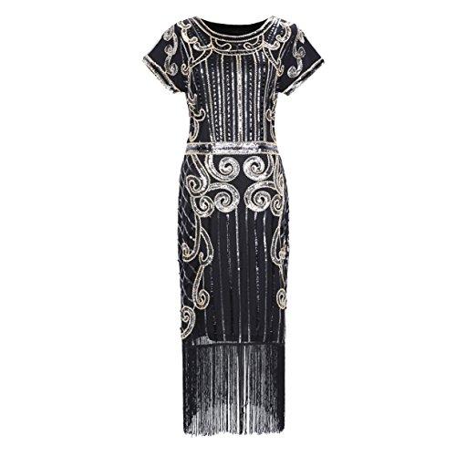 [1920s Style Sequin Beaded Fringe Flapper Dress] (Dress 1920s)