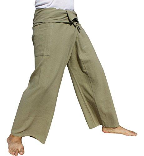 RaanPahMuang Brand Plain Thick Muang Cotton Fisherman Wrap Tall Pants