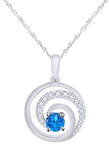 (Wishrocks Simulated Blue Topaz Swirl Circle Pendant Necklace in 14K White Gold Over Sterling Silver)