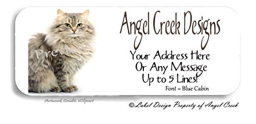 60 Tiger Cat Maine Coon Cat Personalized Return Address Labels