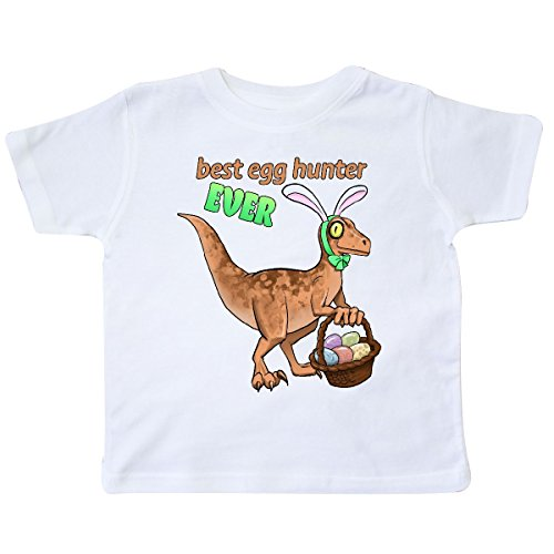 inktastic Best Egg Hunter Ever Easter Dinosaur Toddler T-Shirt 5/6 White