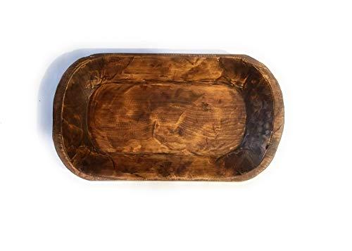 Decorative Wood Dough Bowl- Farmhouse Rustic Bowl- The Durango (Trough Wooden Bread)