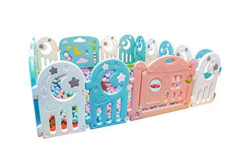 Baby Playpen, Kids Activity Center Safety Play Yard | 16 Moon Panels + 2 Gates | Portable Large Indoor/Outdoor Plastic Play Pen with Panels - Safety Playgate with Fence for Kids