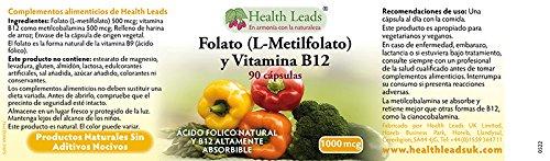 Folato 500mcg y Vitamina B12 500mcg x 90 Cápsulas: Amazon.es: Salud y cuidado personal