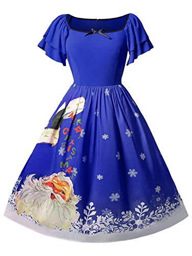 - KCatsy Christmas Plus Size Santa Claus Print Vintage Dress Cobalt Blue