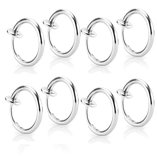 CrazyPiercing 8 pcs of Surgical Steel Clip on Non-pierced Hoops Fake Nose Lip Ear Rings Piercing (silver color)