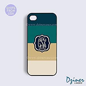 Monogrammed iPhone 6 Case - 4.7 inch model - Multi Color Stripes Blue iPhone Cover