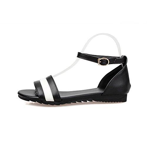 Flats Toe AllhqFashion Womens Black Color No Heel Buckle Open Sandals Assorted qfg80q