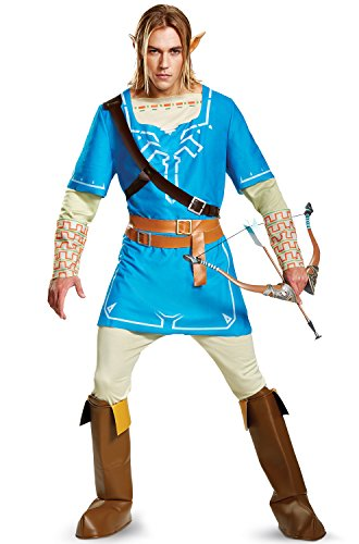 Disguise Link Breath of The Wild Deluxe Adult Costume-X-Large (42-46) Blue