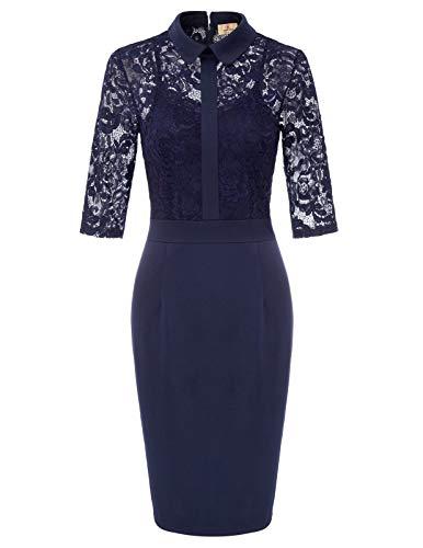- Womens Slim Cocktail Party Lace Dress Pencil Bodycon Midi Dresses Navy XXL
