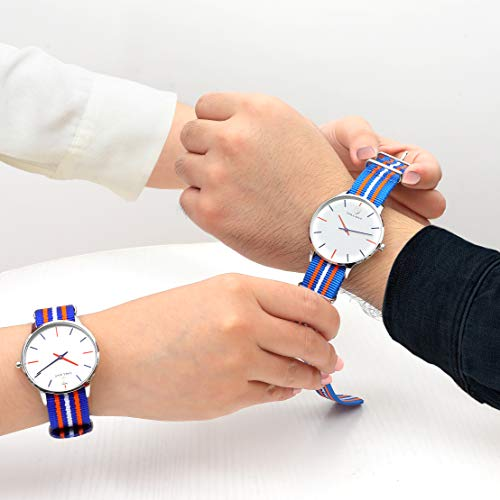 Couples Watches Quartz Wrist Watch His and Hers Watche Set Casual Nylon Strap Nylon Style Watch Mens Women Couple Pair Watches for Lovers Valentine Gifts Anniversary