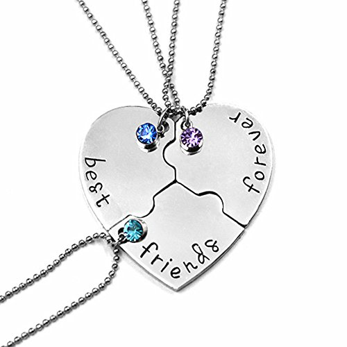 SIVITE Best Friends Forever and Ever Necklace with Crystal Broken Heart Charm Pendant Set Friendship Necklace Mens 3 Piece Gift