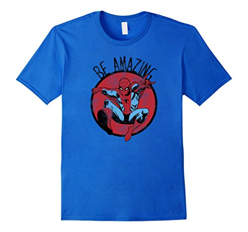 Mens Marvel Spider-Man Be Amazing Distressed Graphic T-Shirt Large Royal Blue