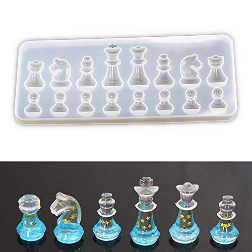 International Chess Shape Clay Mold, Epoxy Resin, Pendant Silicone Mold with Jewelry Molds,Earring Necklace Making and DIY Craft Making,Fondant Candy Mold