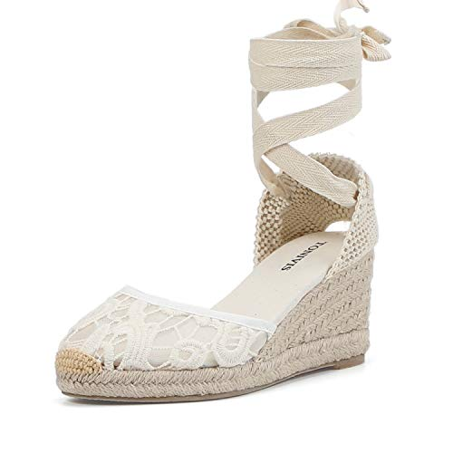 TONIVIS Womens Lace Up Platform Wedges Espadrilles Heel Closed Cap Toe with Soft Ankle-Tie Strap Sandals (7 M US, White Lace - 2.5