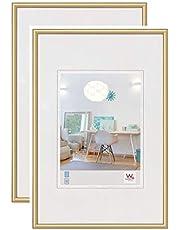 walther design KV460GD New Lifestyle Kunststoff Bilderrahmen, 40x60 cm, gold, 2er Pack