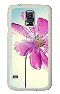 Samsung Galaxy S5 Case Cover - Purple Magenta Flower Hard Case Cover For Samsung Galaxy S5 - PC White