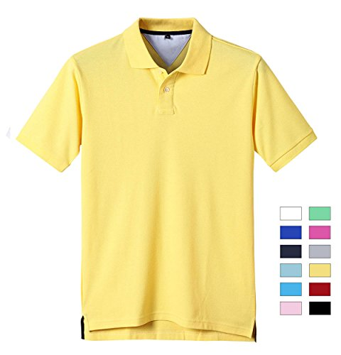 Kodamaa Men's Casual 100% Cotton Solid Short Sleeve Pique Polo Shirt (X-Large, Light (Mens 100 Pique Polo)