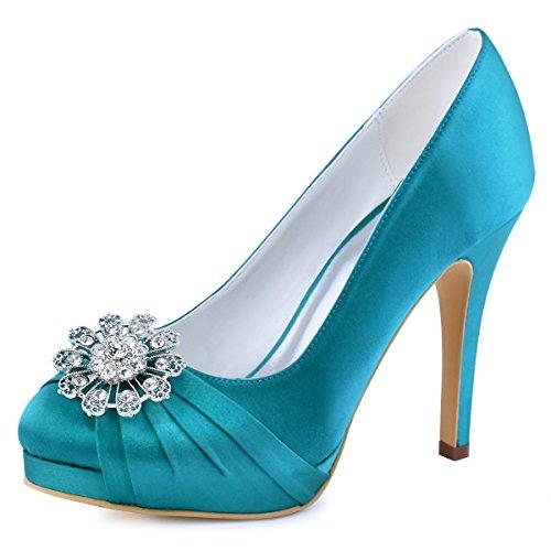 ElegantPark EP2015 Women Pumps Closed Toe Platform High Heel Buckle Satin Evening Prom Wedding Dress Shoes Teal US 9