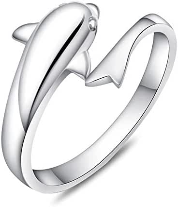 Women Korean Style Copper Dolphin Open Ring 925 Sterling Silver Plated