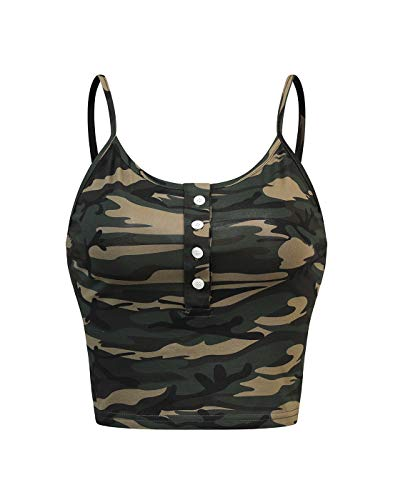 Camo Cami - Sweetbei J Womens Sleeveless Scoopneck Button up Casual Workout Crop Cami Top Camo M
