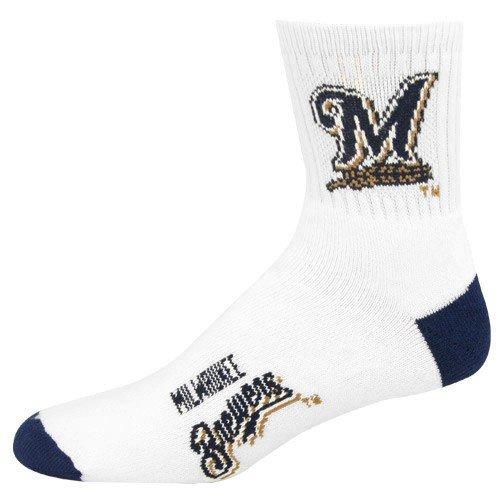 MLB Milwaukee Brewers Men's Quarter Socks, Large, White