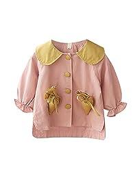 Balai Baby Girls Cute Cotton Cartoon Print Autumn Long Sleeve Slim Warm Coat Button Round Collar Tops