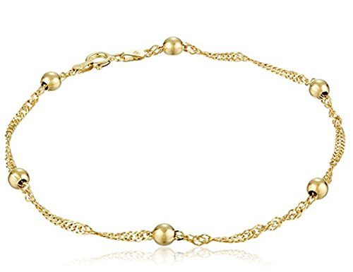 1pc 14k Gold on Sterling Silver Anklet Bracelet Singapore - 9 inch Cute Chain 3mm Ball Gifts for Women Girls ()