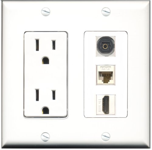 RiteAV - 15 Amp Power Outlet 1 Port HDMI 1 Port Toslink 1 Port Cat6 Ethernet Ethernet White Decora Wall Plate by RiteAV