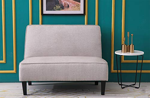 ANNJOE Cushioned Linen Loveseat Settee Upholstered Sofa Backrest Couch Banquette Bench for Dining Room Living Room Bedroom Funiture(Yellow Pattern)