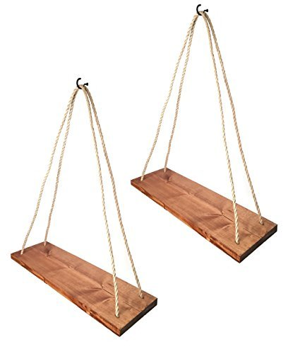 Cheap Rustic Farmhouse Wood Hanging 17″ Distressed Wall Shelf (Set of 2) – Floating Shelves With Rope and Mounting Hardware – MADE IN USA – Modern Country Decor For Plant Display, Office, Organization