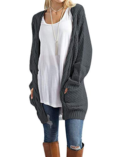 Traleubie Women's Open Front Long Sleeve Boho Boyfriend Knit Chunky Cardigan Sweater Dark Grey XL