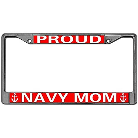 Amazon.com: License Plate Frame Tag Proud Navy Mom License ...