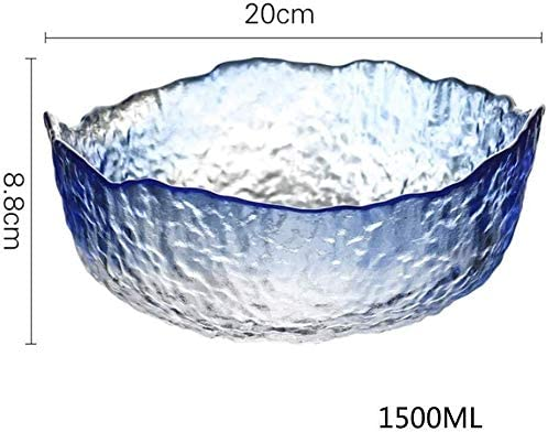 フルーツボウル 1500mlのクリスタルガラスのフルーツボウルバスケットストレージラック、キッチンカウンター野菜サラダボウル、スナックプレート、20x8.8cm、ブルー