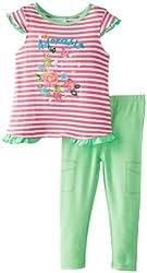 ABSORBA Baby Girls' Denim Legging Set, Green/Pink, 12 Months