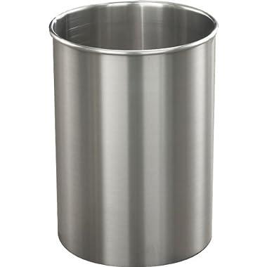 Glaro Open Top Wastebasket: Satin Aluminum - 7 Gal - 23 H x 9  Dia