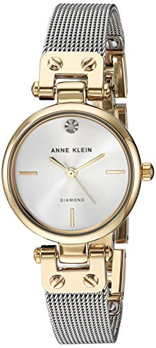 (Anne Klein Women's AK/3003SVTT Diamond-Accented Two-Tone Mesh Bracelet Watch)