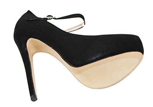 Italina Sh1430 Femmes Orteil Amande Mary Jane Couin Talon Haut Brillant Velours Stilettos Noir