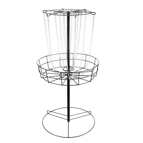 Popsport Disc Golf Basket 55 Height Portable Disc Golf Basket with Double Chains Portable Practice Target Steel Frisbee Hole Disc Golf Target for Disc Golfers (Black) by Popsport