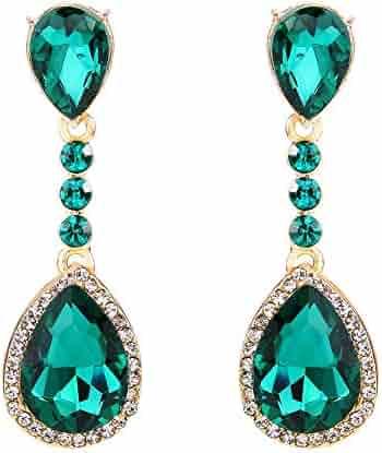 4f99412e0 BriLove Women's Wedding Bridal Crystal Teardrop Infinity Figure 8  Chandelier Dangle Clip-On Earrings
